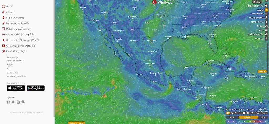 Mapa de velocidad y dirección de viento en Windy